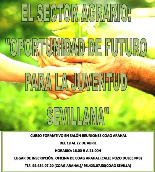 """AionSur cartel Curso formativo """"El sector agrario: Oportunidad de futuro para la juventud sevillana"""" Formación y Empleo"""