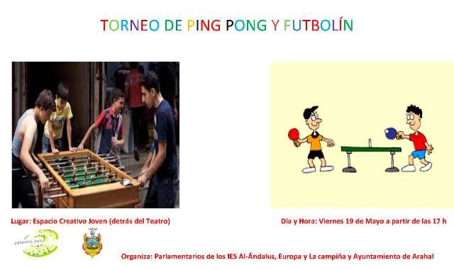 AionSur CARTEL-TORNEO-DE-PING-PONG-Y-FUTBOLÍN Ya te puedes inscribir en las actividades de mayo de la delegación de Juventud Arahal Provincia