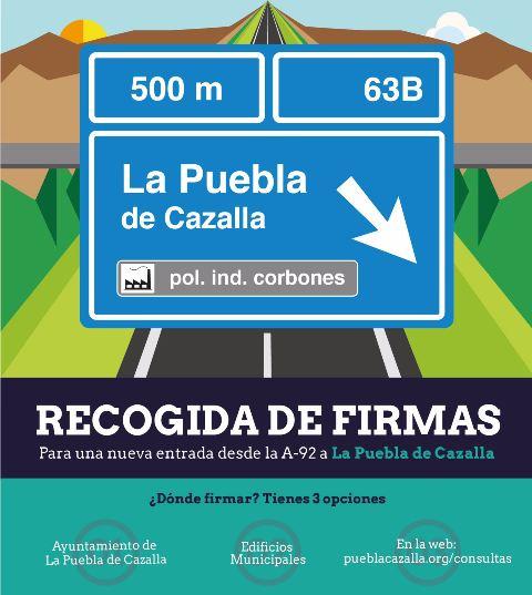 AionSur Recogida-de-Firmas Campaña de recogida de firmas para mostrar la necesidad de una nueva entrada desde la A-92 La Puebla de Cazalla Provincia