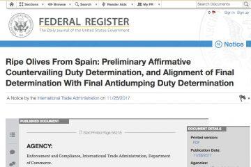 AionSur Federal_Register-360x240 Entran en vigor de forma oficial los aranceles de Estados Unidos a la aceituna española Economía