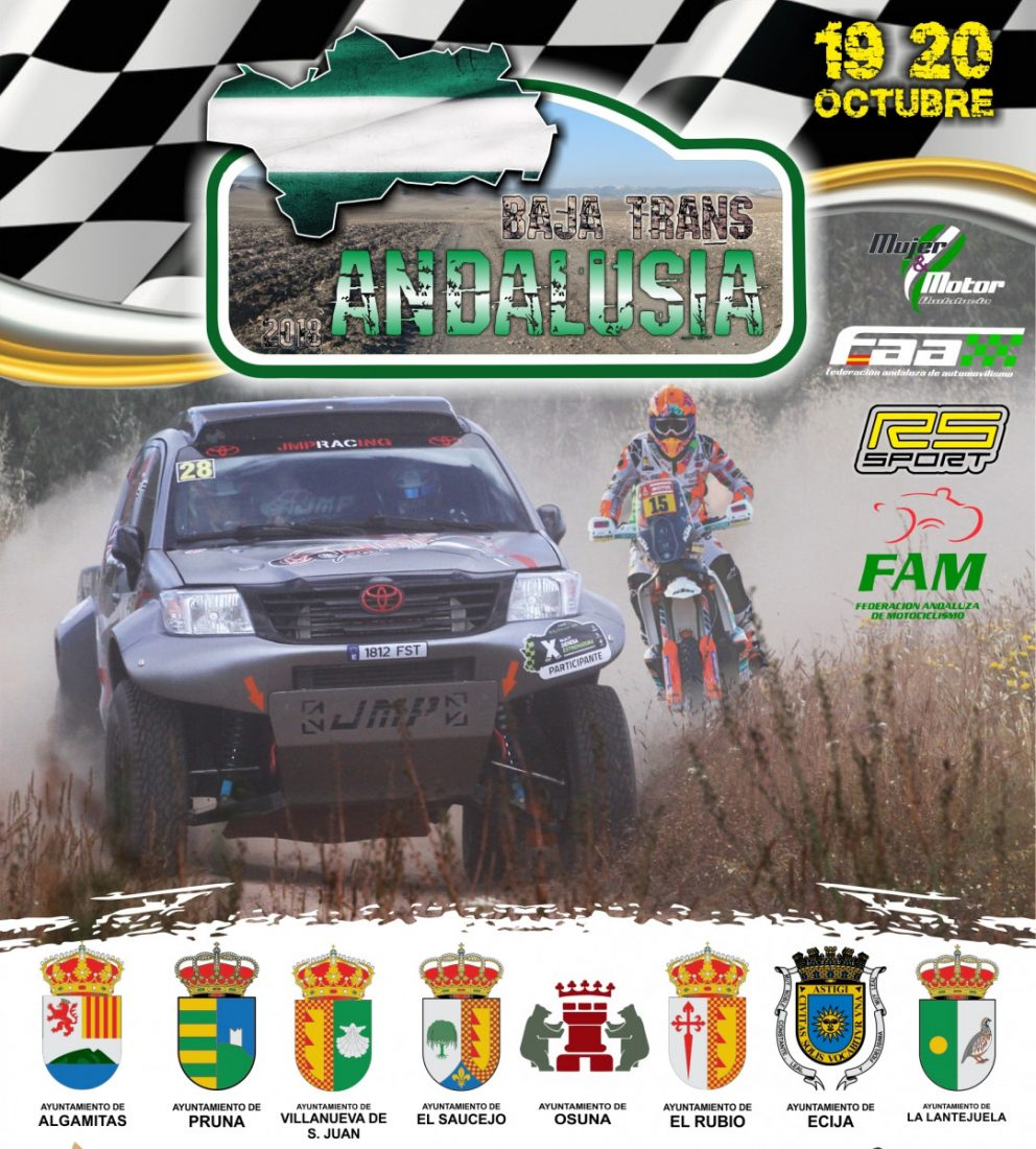 """AionSur Cartel-Trans-Andalusia La Sierra Sur y Campiña reciben la I Edición del Rally """"Baja Trans Andalucía 2018"""" con la participación de 50 pilotos del Dakar Deportes Pruna"""