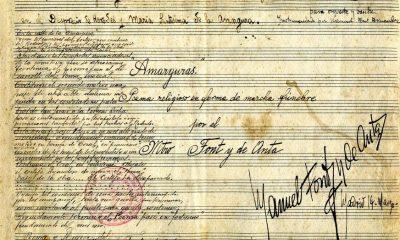 AionSur Amargura-partitura-unsiglo-400x240 La composición de la marcha 'Amarguras' cumple un siglo en marzo Cultura Semana Santa