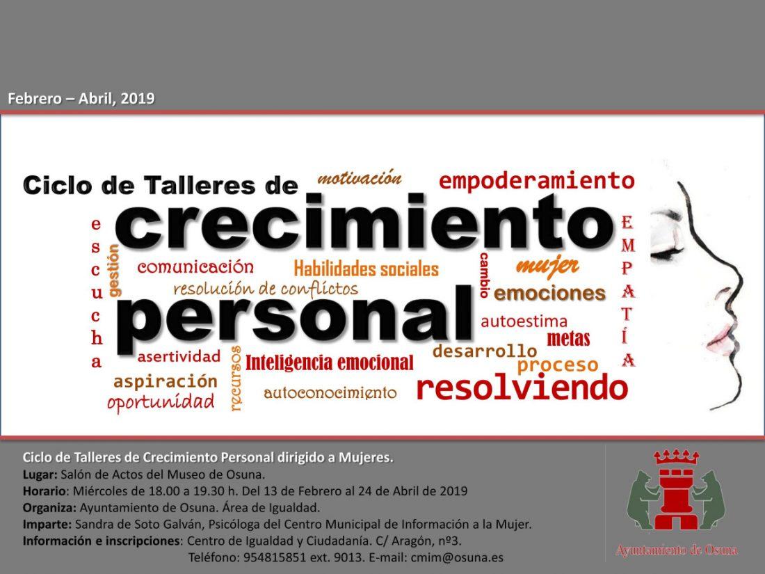 AionSur cartel-CRECIMEINTO-PERSONAL Igualdad en Osuna pone en marcha cinco talleres para el crecimiento personal de las mujeres Osuna Sierra Sur