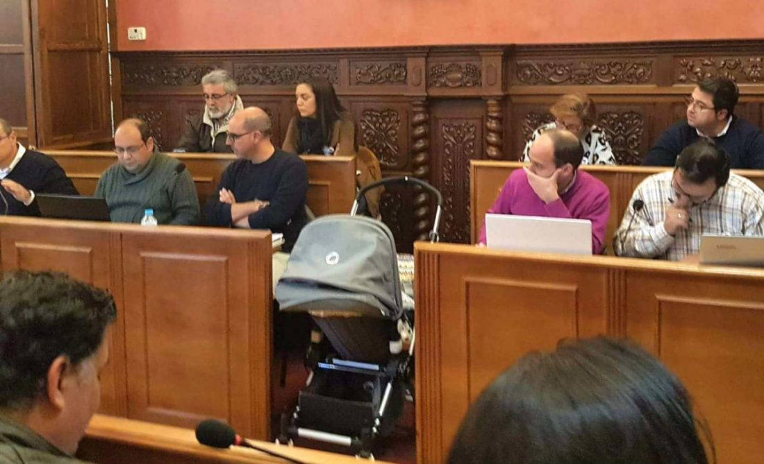 AionSur concejal-de-iu-con-su-hijo-pequeno-en-el-salon-de-plenos Un concejal acude al pleno con su bebé y su carrito ante la huelga de su pareja Huelva Sociedad