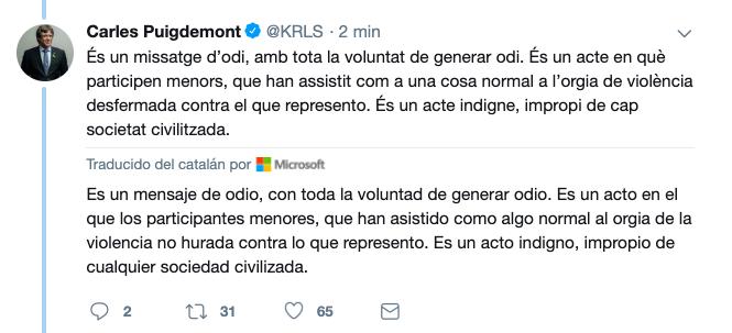 """AionSur PUIG-CORREO Puigdemont: """"Lo de Coripe es un mensaje de odio con toda la voluntad de generar odio"""" Coripe Sociedad"""