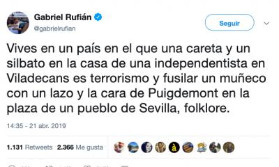 AionSur Rufian-400x240 Gabriel Rufián equipara el Judas de Coripe al terrorismo atribuido a independentistas Coripe Sociedad  destacado