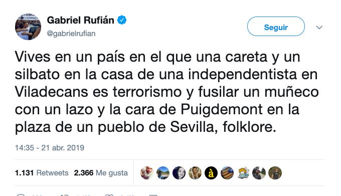 AionSur Rufian Gabriel Rufián equipara el Judas de Coripe al terrorismo atribuido a independentistas Coripe Sociedad  destacado