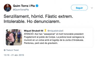 AionSur TORRA-400x240 Quim Torra anuncia que llevará a los tribunales a los organizadores del Judas de Coripe Coripe Sociedad