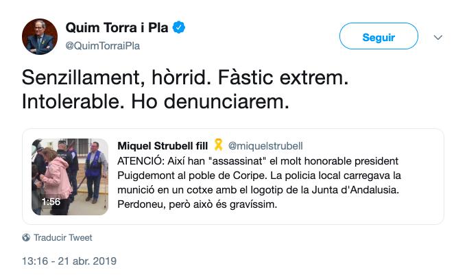 AionSur TORRA Quim Torra anuncia que llevará a los tribunales a los organizadores del Judas de Coripe Coripe Sociedad