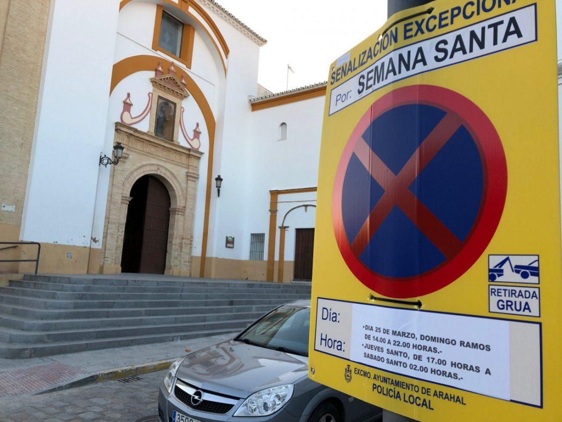 AionSur señales-SemanaSanta-Policia-Local Días y horarios de los cortes de tráfico durante la Semana Santa de Arahal Semana Santa
