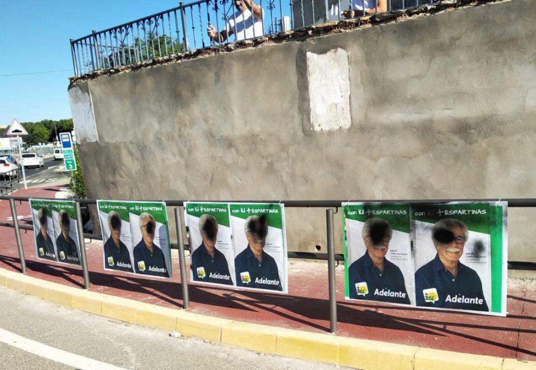 AionSur IU-Espartinas Atentan contra los carteles de Izquierda Unida en Espartinas Provincia Sociedad Sucesos