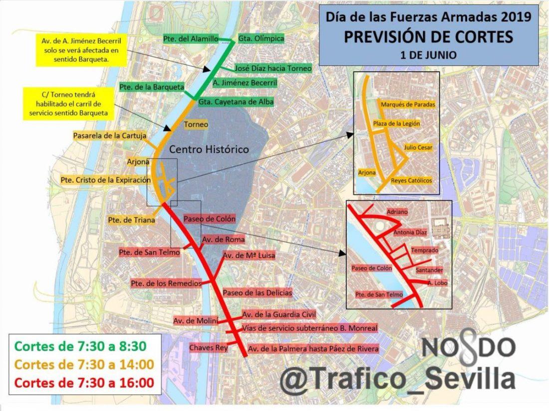 AionSur cortes Fuerzas Armadas, Alejandro Sanz y 35 procesiones colapsarán Sevilla el fin de semana Sevilla Sociedad