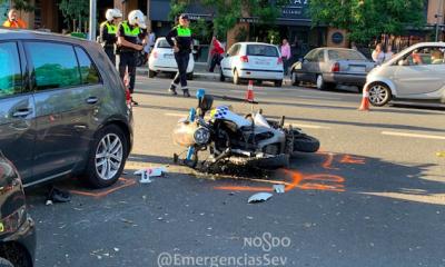 AionSur policia-accidente-400x240 Herido grave un policía local de Sevilla al chochar su moto contra un coche Sevilla Sucesos