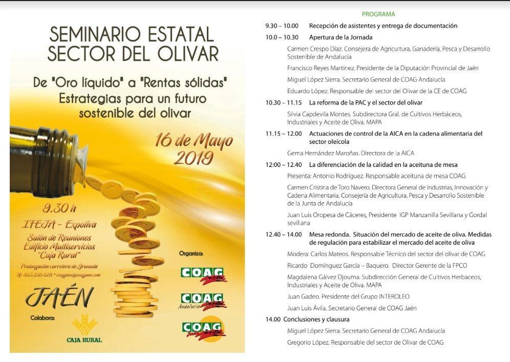 AionSur programa-seminario-coag COAG celebra en Jaén con una conferencia su seminario estatal del olivar Agricultura