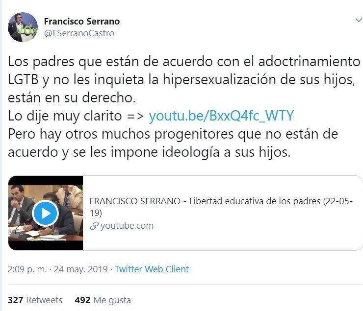 """AionSur tuit-francisco-serrano VOX critica a dos institutos de Arahal y Marchena por """"adoctrinamiento LGTB"""" Arahal Educación Marchena  destacado"""