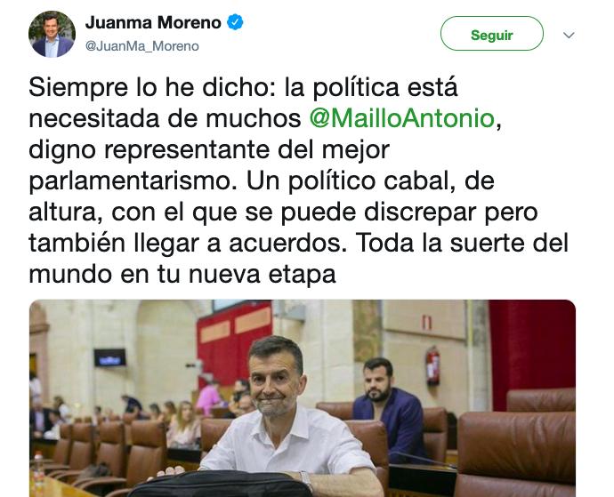 AionSur Juanma-Maillo Los líderes políticos andaluces despiden a Maíllo y le desean suerte en su nueva etapa Andalucía Política