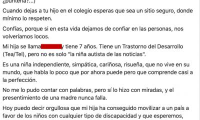 """AionSur carta-madre-400x240 La madre de la niña con autismo de Dos Hermanas: """"El peor castigo para las maestras será escucharse en las grabaciones"""" Dos Hermanas Sucesos  destacado"""