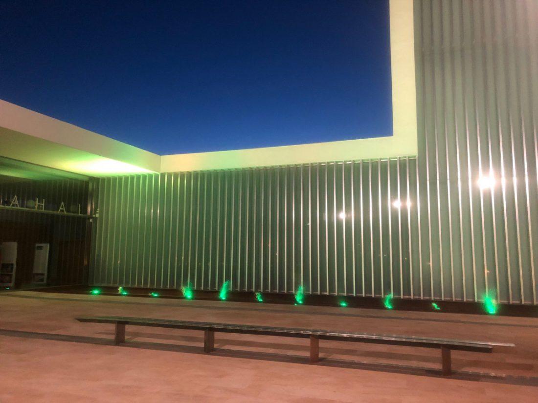 AionSur teratro-Arahal-ELA Arahal ilumina de verde el Teatro Municipal por la ELA Arahal