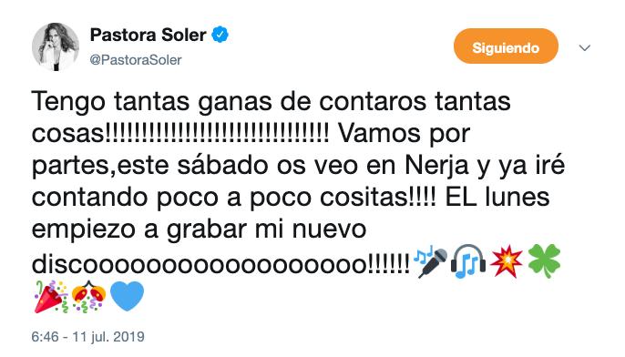 AionSur Captura-de-pantalla-2019-07-11-a-las-11.43.51 Pastora Soler anuncia que comienza a grabar su duodécimo disco Cultura Sevilla