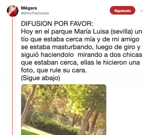 AionSur exhibicio-300x271 Identifican a un exhibicionista que se masturbaba en un parque por la difusión de su foto en Twitter Sevilla Sucesos  destacado