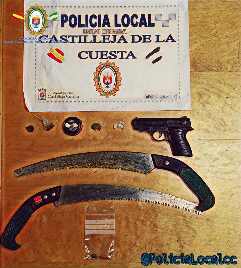AionSur castilleja-poli Denunciado al ser captado en Castilleja con una pistola, dos sierras y cuatro drogas distintas en el coche Castilleja de la Cuesta Sucesos