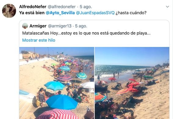 AionSur matalascanas-twitter Un tuitero culpa -con humor- al alcalde de Sevilla de la falta de arena en Matalascañas Huelva Sevilla Sociedad  destacado