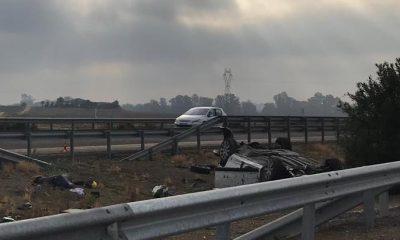 AionSur Accidente-Salteras-400x240 Un herido grave al volcar su coche en la A-66 a la altura de Salteras Sevilla Sucesos