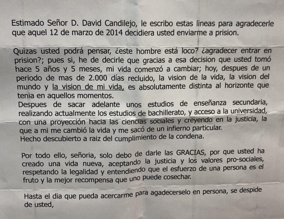 AionSur carta-preso Un preso agradece por carta al juez que le condenó que le ayudase a reformar su vida Sevilla Sociedad