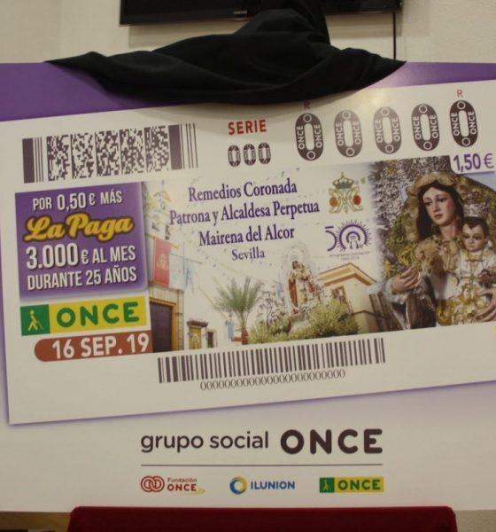 AionSur cupon-Mairena-560x600 La patrona de Mairena del Alcor protagoniza el cupón de la ONCE Mairena del Alcor Sociedad