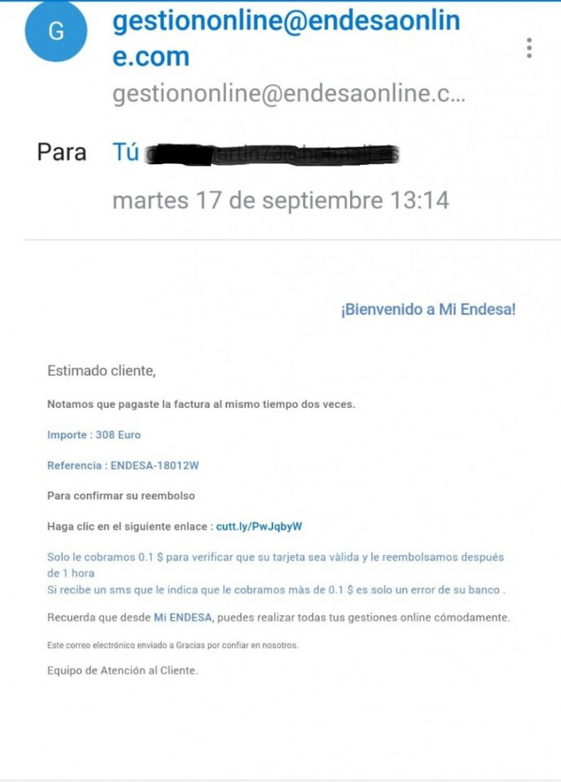 AionSur ec8f4982-5b92-4c78-9a97-d86fce83dbba Denuncian una nueva estafa en nombre de Endesa que llega por correo electrónico Sociedad  dsestacado
