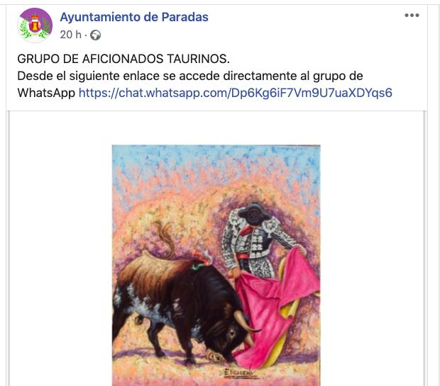 AionSur toros-grupo-paradas Polémica en Paradas por apoyar el Ayuntamiento a un grupo de taurinos Paradas Sociedad Toros