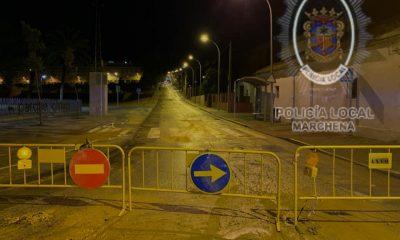 AionSur POLICIA-MARCHENA-400x240 Los daños más significativos por la tromba de agua en Marchena, se centran en el hundimiento de un tramo de calle Sevilla Marchena  destacado