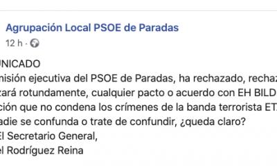 AionSur PSOE-Paradas-400x240 El PSOE de Paradas rechaza el acuerdo de su partido con Bildu Paradas Política  destacado