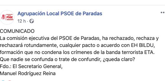 AionSur PSOE-Paradas-560x276 El PSOE de Paradas rechaza el acuerdo de su partido con Bildu Paradas Política  destacado