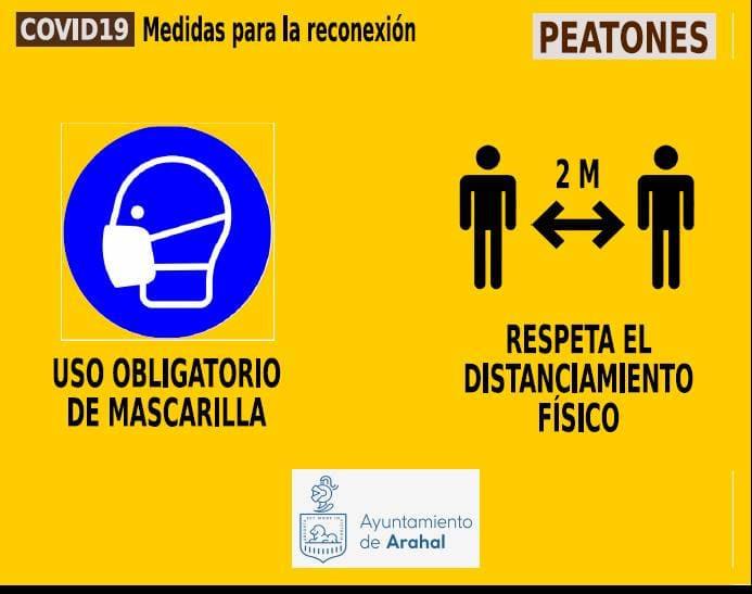 AionSur SEÑAL-PEATONES-USO-OBLIGATORIO Plan de movilidad en Arahal contra el coronavirus Arahal Coronavirus destacado