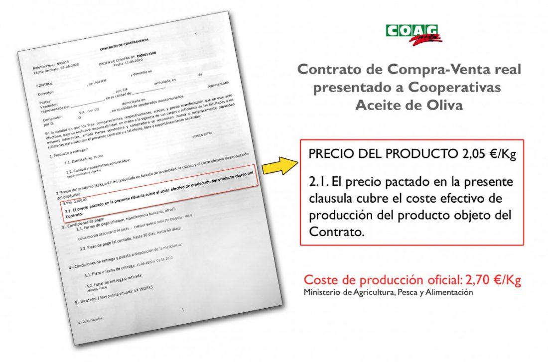 AionSur contrato-compra-venta-aceite-oliva-min COAG denuncia coacciones a las cooperativas para que vendan su aceite por debajo de coste Agricultura Asociaciones destacado