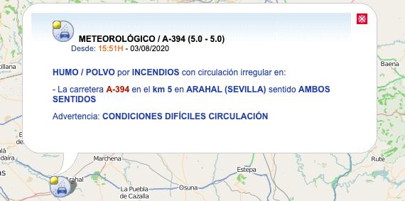 AionSur: Noticias de Sevilla, sus Comarcas y Andalucía Trafico Un incendio provoca problemas en el tráfico en la carretera entre Arahal y Utrera Arahal Sucesos Utrera