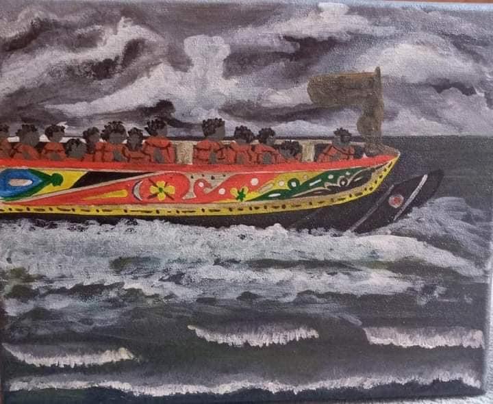 AionSur senegal-cuadros-1 Una exposición muestra los cuadros que un senegalés salvó en el incendio de su chabola Cultura Huelva