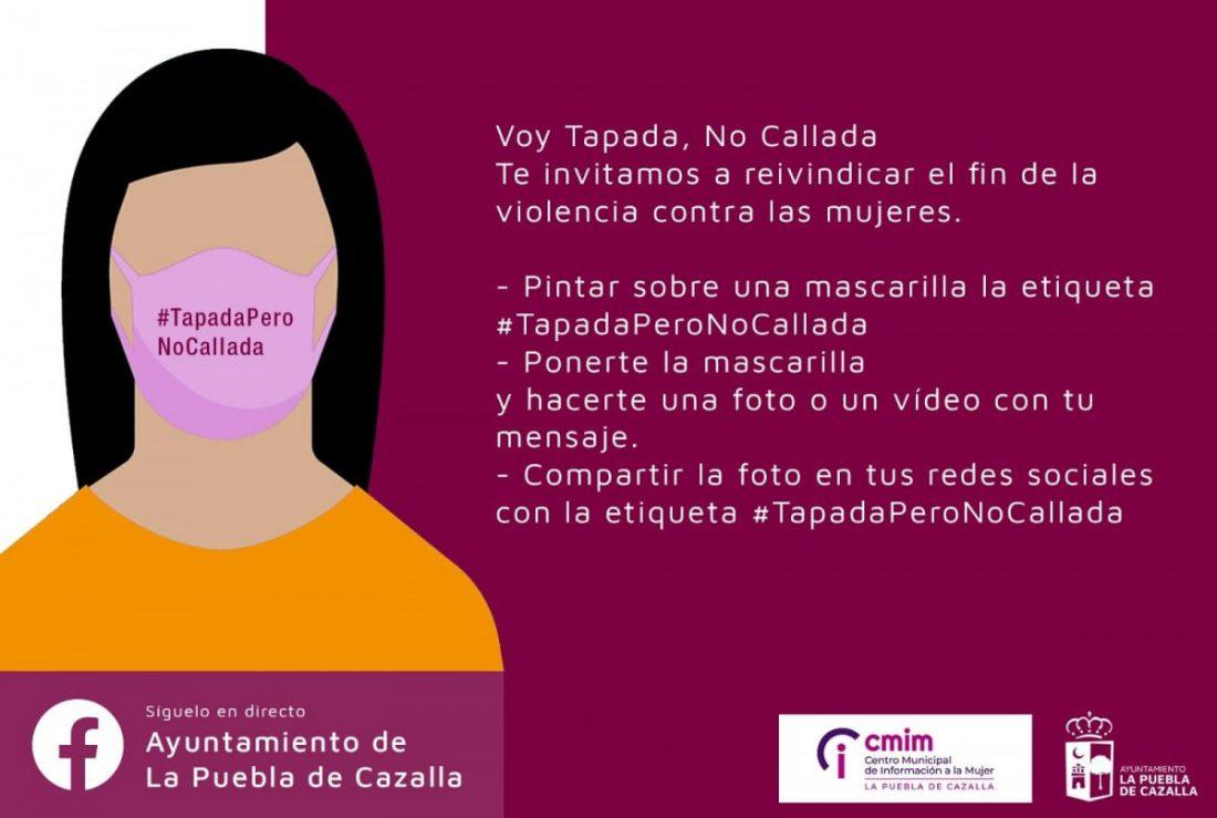"""AionSur: Noticias de Sevilla, sus Comarcas y Andalucía 125805965_2733216870228266_3646447133687378835_o-min """"Tapada pero no callada"""", campaña para el 25-N en La Puebla de Cazalla La Puebla de Cazalla"""