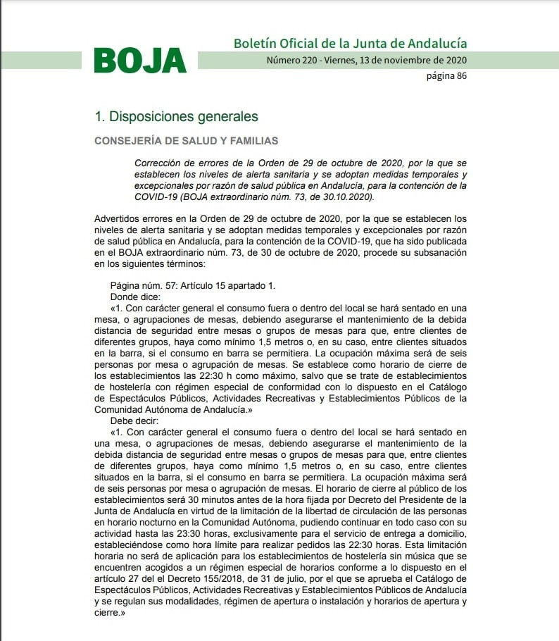 AionSur: Noticias de Sevilla, sus Comarcas y Andalucía BOJA-R-min La Junta corrige y deja a la hostelería abrir hasta las 23:30 para reparto a domicilio Andalucía destacado