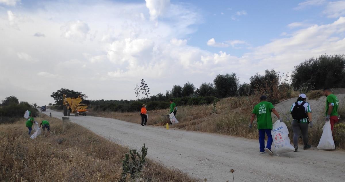 """Unos 30 voluntarios recogen 50 sacos de """"basuraleza"""" de las veredas de Arahal"""